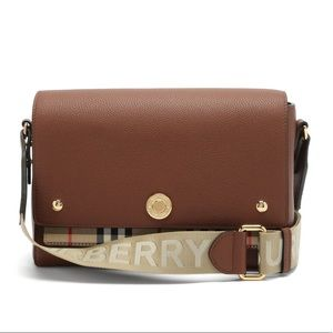 Burberry Note Crossbody brown leather/ check NWT
